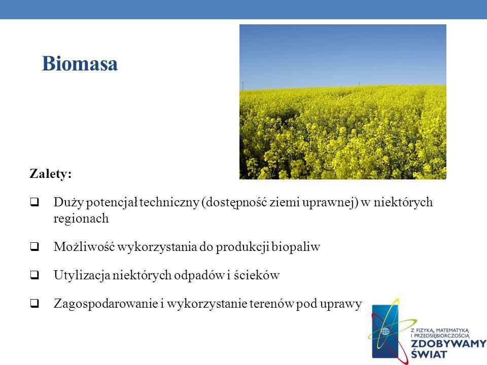 Biomasa Zalety: Duży potencjał techniczny (dostępność ziemi uprawnej) w niektórych regionach. Możliwość wykorzystania do produkcji biopaliw.