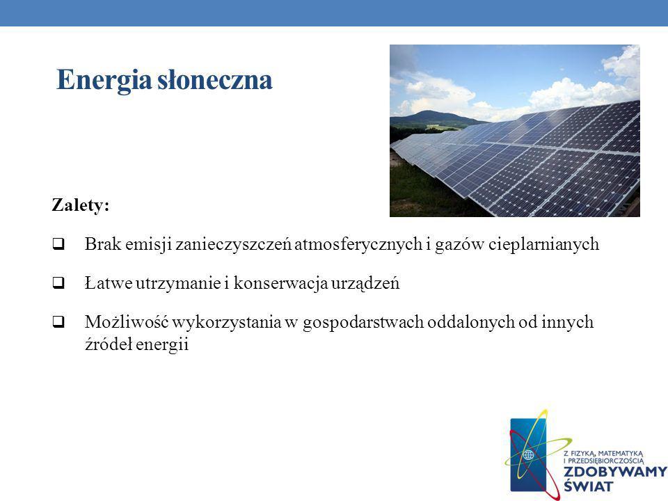 Energia słoneczna Zalety: