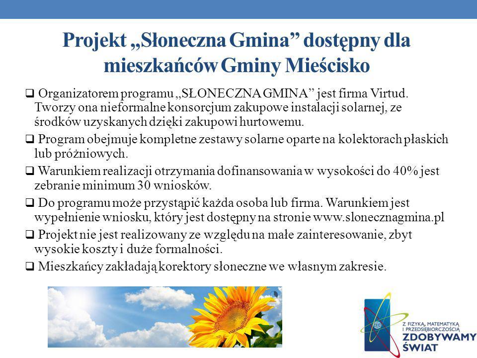 """Projekt """"Słoneczna Gmina dostępny dla mieszkańców Gminy Mieścisko"""