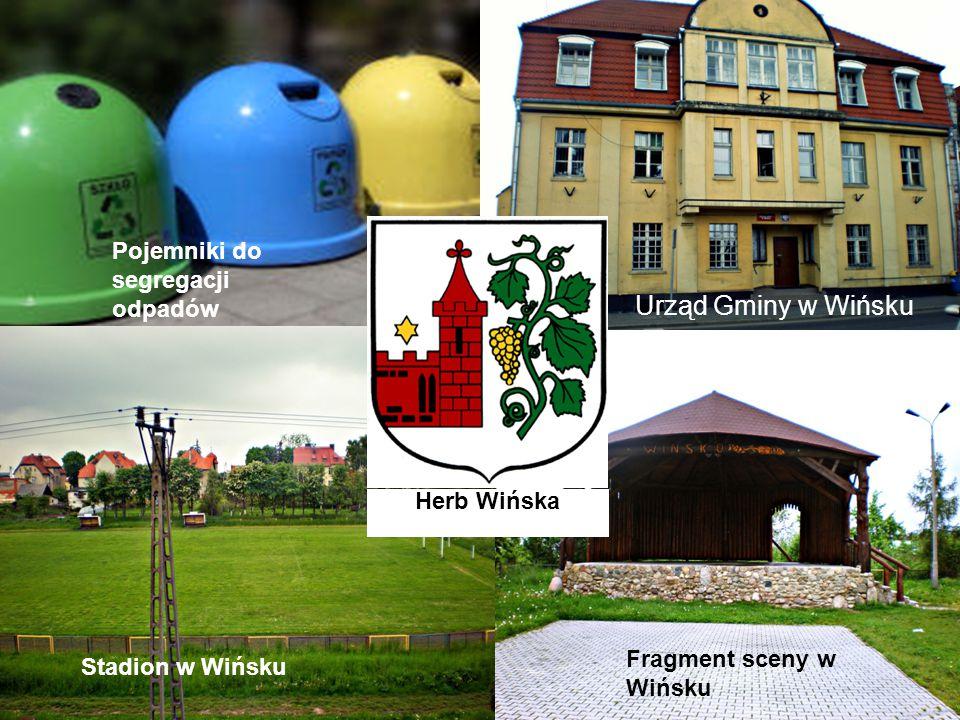 Urząd Gminy w Wińsku Pojemniki do segregacji odpadów Herb Wińska