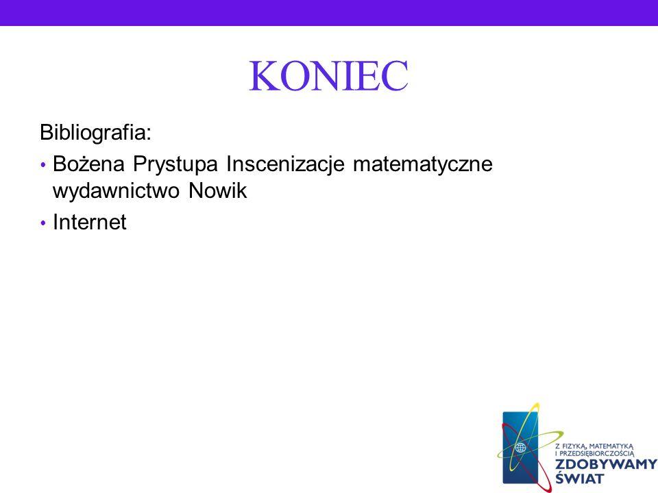 KONIEC Bibliografia: Bożena Prystupa Inscenizacje matematyczne wydawnictwo Nowik Internet