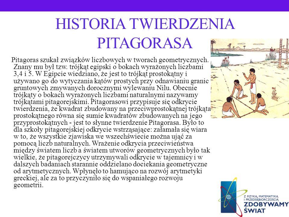 HISTORIA TWIERDZENIA PITAGORASA