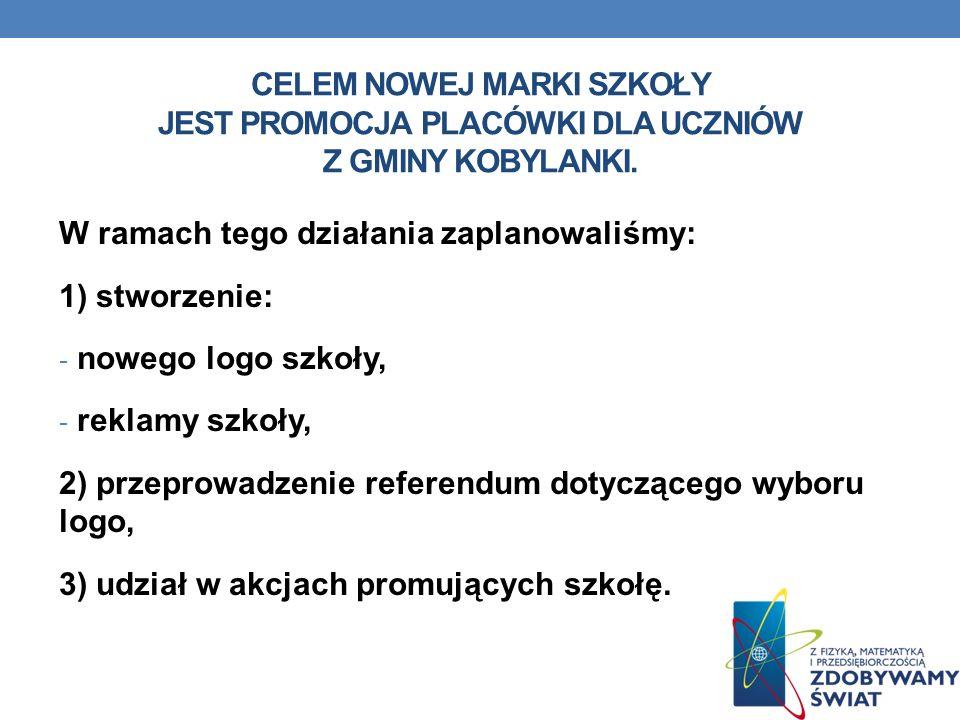 Celem nowej marki szkoły Jest promocja placówki dla uczniów z Gminy Kobylanki.
