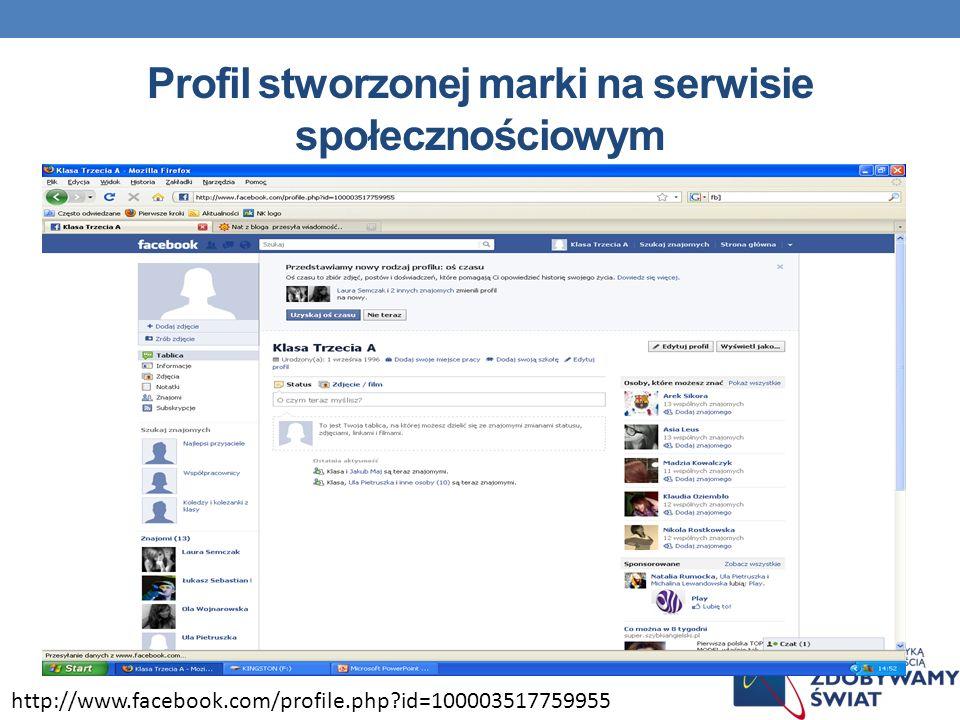 Profil stworzonej marki na serwisie społecznościowym