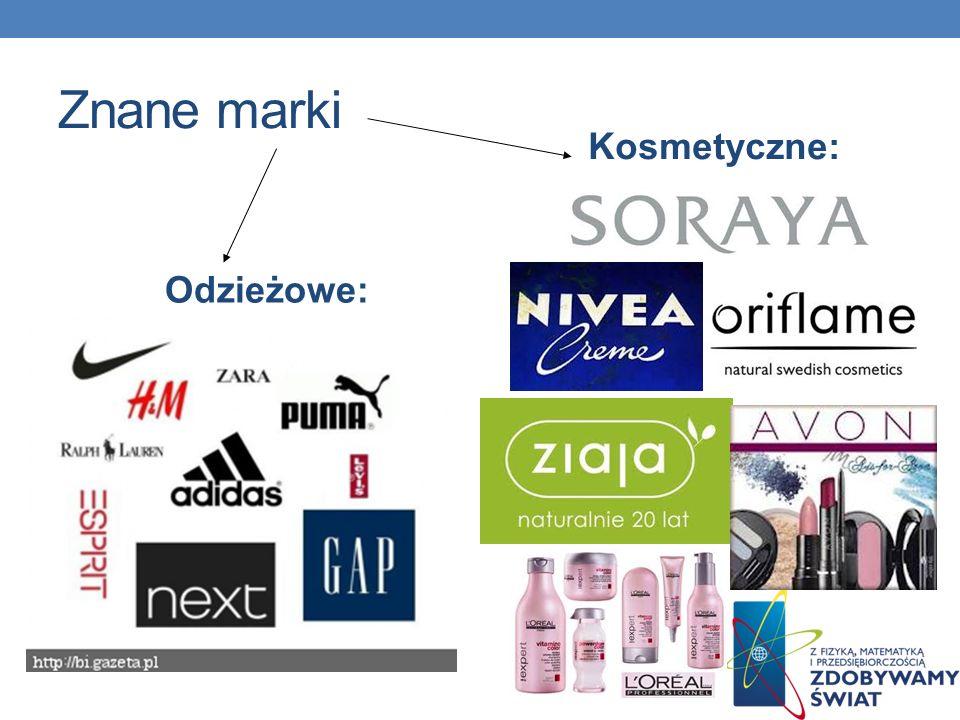 Znane marki Kosmetyczne: Odzieżowe: