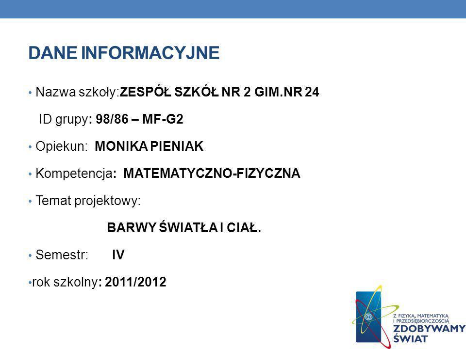 Dane INFORMACYJNE Nazwa szkoły:ZESPÓŁ SZKÓŁ NR 2 GIM.NR 24