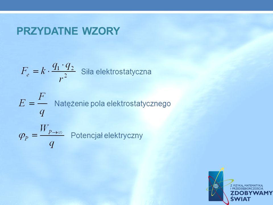 Przydatne Wzory Siła elektrostatyczna Natężenie pola elektrostatycznego Potencjał elektryczny