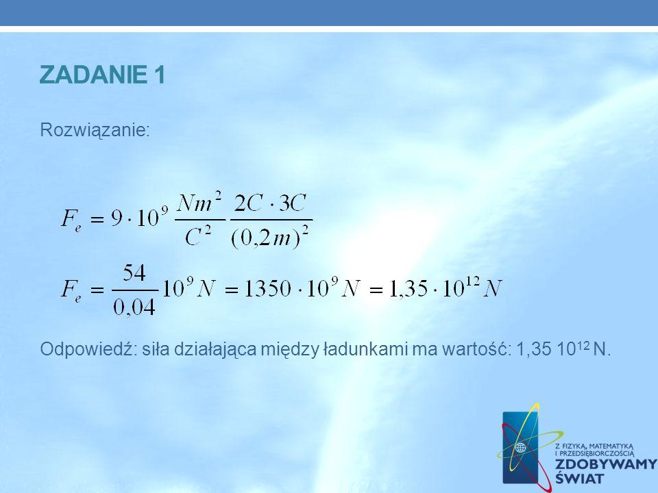 ZADANIE 1 Rozwiązanie: Odpowiedź: siła działająca między ładunkami ma wartość: 1,35 1012 N.