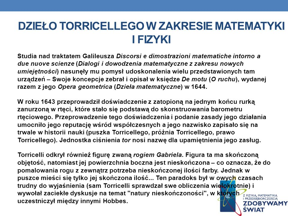 Dzieło Torricellego w zakresie matematyki i fizyki
