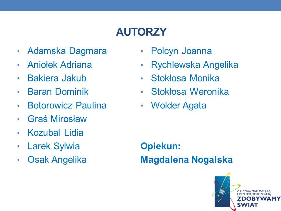 AUTORZY Adamska Dagmara Polcyn Joanna Aniołek Adriana