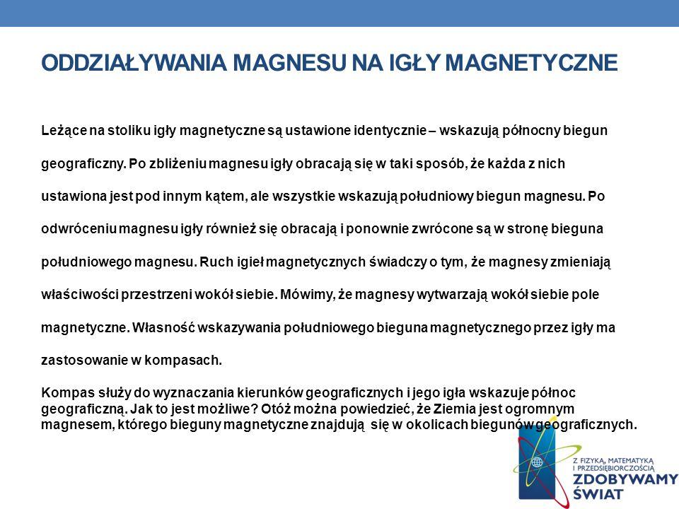 Oddziaływania magnesu na igły magnetyczne