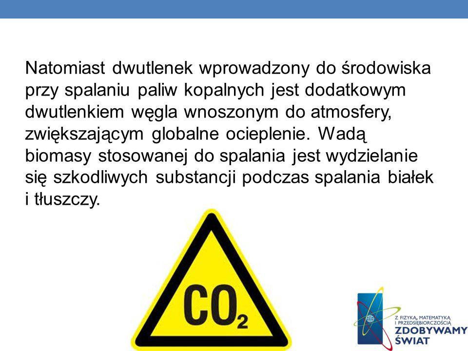 Natomiast dwutlenek wprowadzony do środowiska przy spalaniu paliw kopalnych jest dodatkowym dwutlenkiem węgla wnoszonym do atmosfery, zwiększającym globalne ocieplenie.