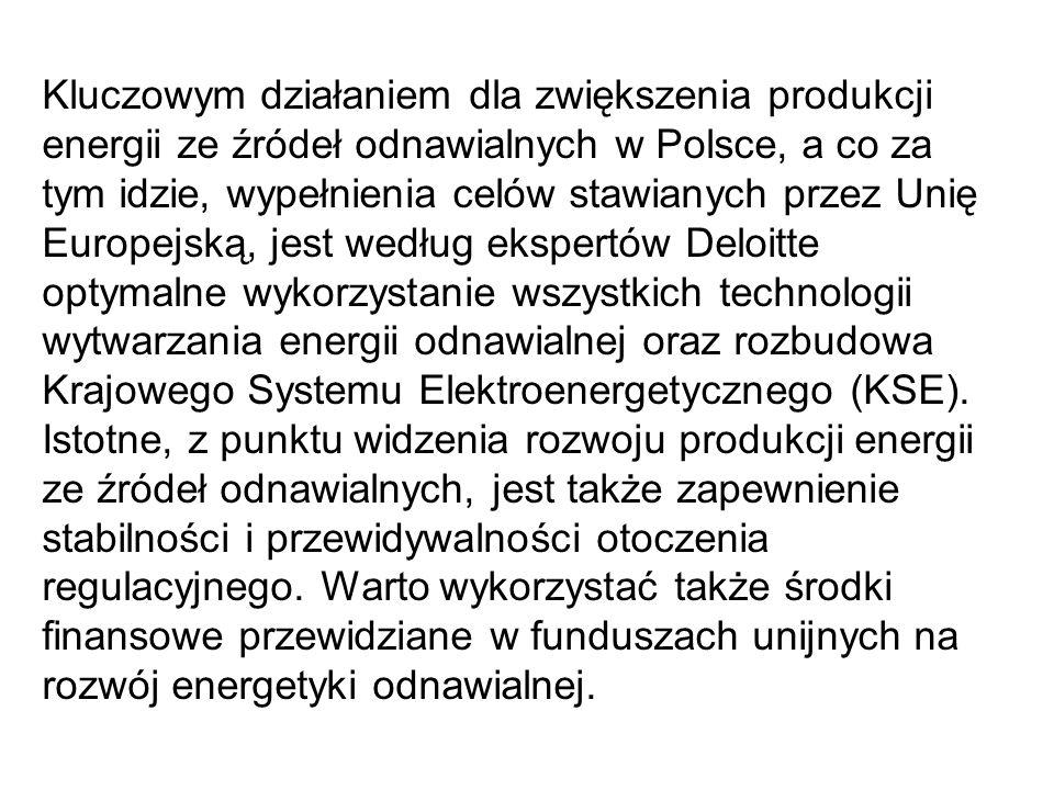 Kluczowym działaniem dla zwiększenia produkcji energii ze źródeł odnawialnych w Polsce, a co za tym idzie, wypełnienia celów stawianych przez Unię Europejską, jest według ekspertów Deloitte optymalne wykorzystanie wszystkich technologii wytwarzania energii odnawialnej oraz rozbudowa Krajowego Systemu Elektroenergetycznego (KSE).
