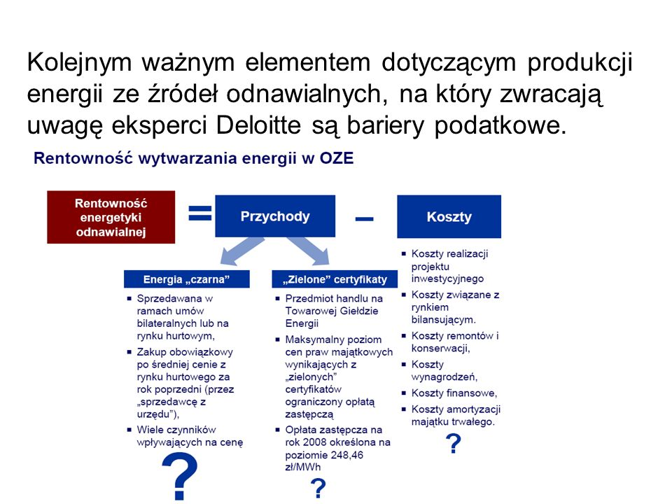 Kolejnym ważnym elementem dotyczącym produkcji energii ze źródeł odnawialnych, na który zwracają uwagę eksperci Deloitte są bariery podatkowe.