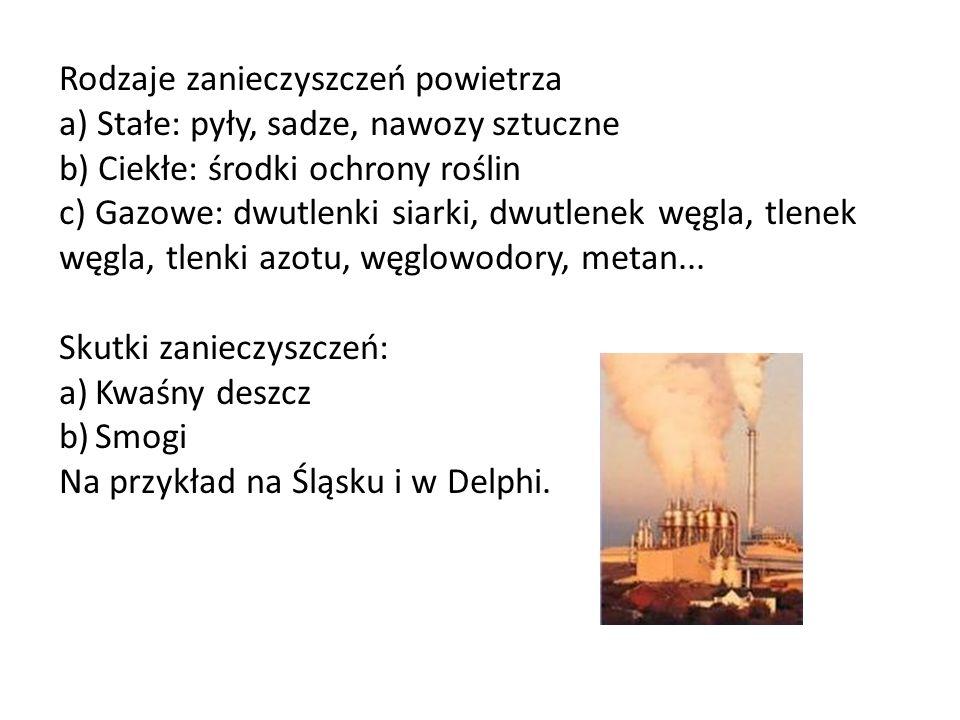 Rodzaje zanieczyszczeń powietrza a) Stałe: pyły, sadze, nawozy sztuczne b) Ciekłe: środki ochrony roślin c) Gazowe: dwutlenki siarki, dwutlenek węgla, tlenek węgla, tlenki azotu, węglowodory, metan...