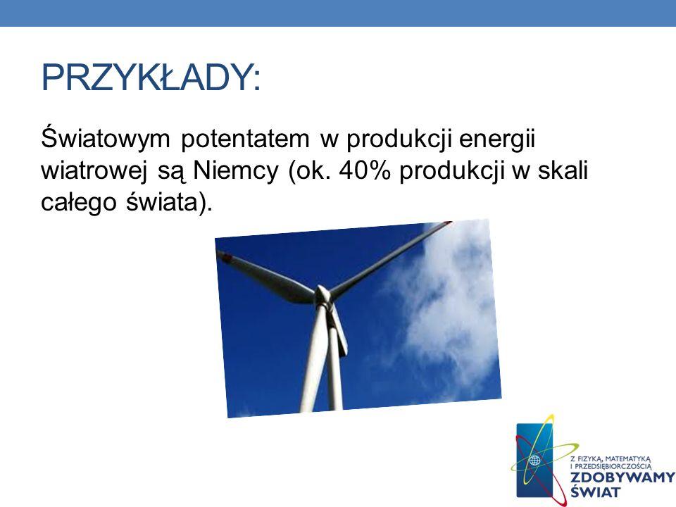 PRZYKŁADY: Światowym potentatem w produkcji energii wiatrowej są Niemcy (ok.