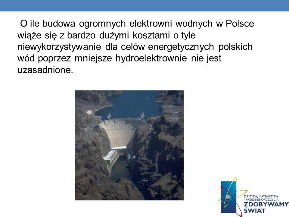 O ile budowa ogromnych elektrowni wodnych w Polsce wiąże się z bardzo dużymi kosztami o tyle niewykorzystywanie dla celów energetycznych polskich wód poprzez mniejsze hydroelektrownie nie jest uzasadnione.