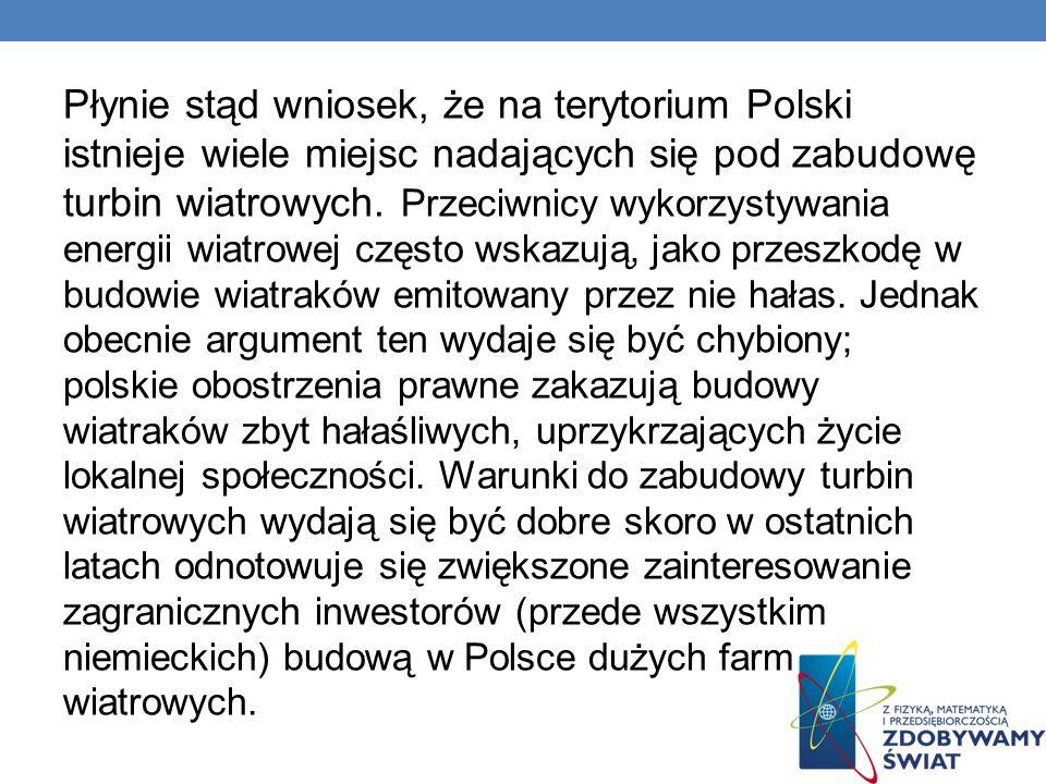 Płynie stąd wniosek, że na terytorium Polski istnieje wiele miejsc nadających się pod zabudowę turbin wiatrowych.