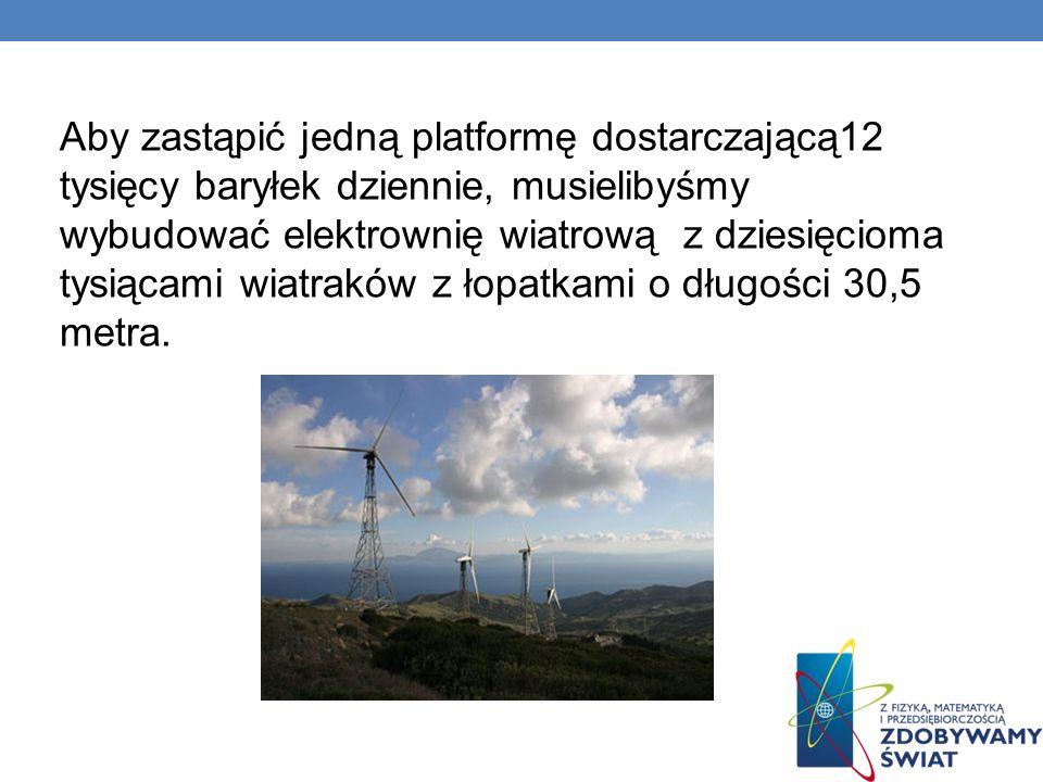 Aby zastąpić jedną platformę dostarczającą12 tysięcy baryłek dziennie, musielibyśmy wybudować elektrownię wiatrową z dziesięcioma tysiącami wiatraków z łopatkami o długości 30,5 metra.