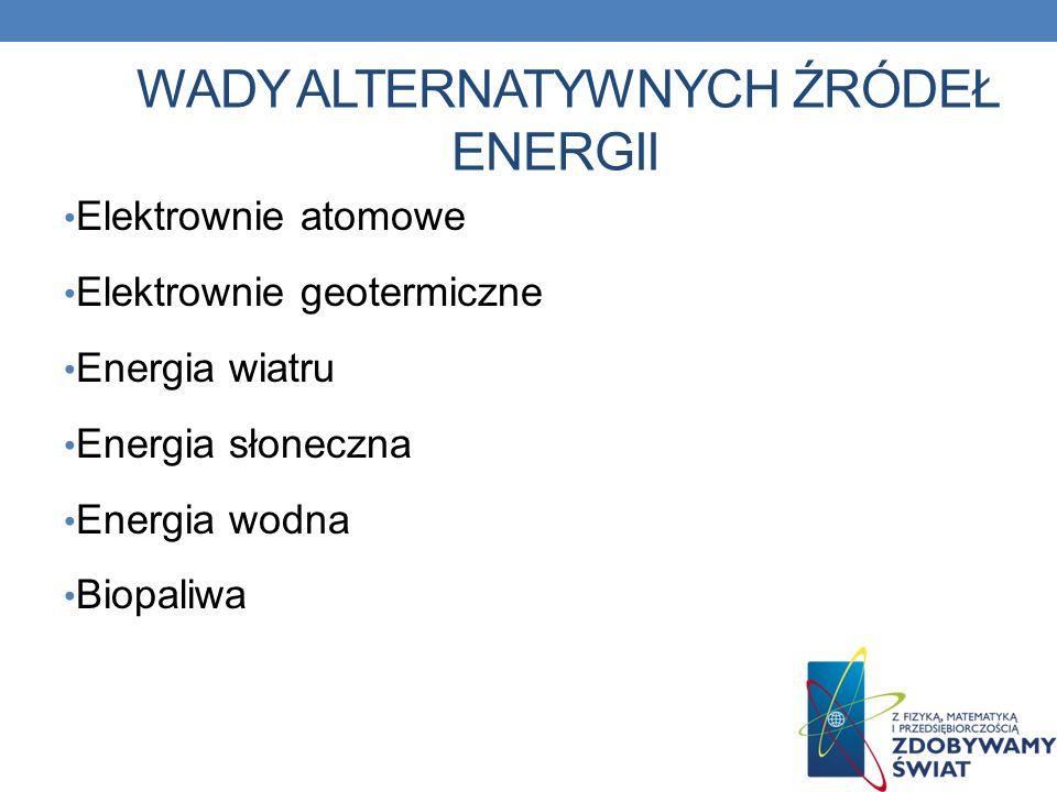 WADY ALTERNATYWNYCH ŹRÓDEŁ ENERGII