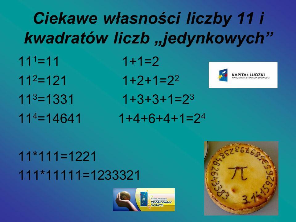 """Ciekawe własności liczby 11 i kwadratów liczb """"jedynkowych"""