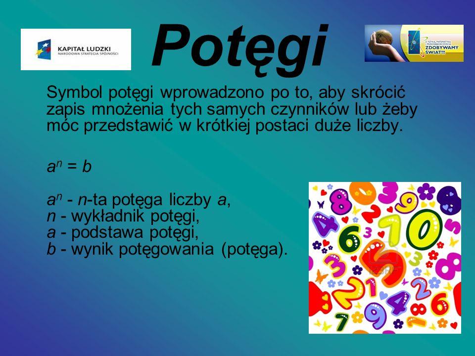 Potęgi Symbol potęgi wprowadzono po to, aby skrócić zapis mnożenia tych samych czynników lub żeby móc przedstawić w krótkiej postaci duże liczby.