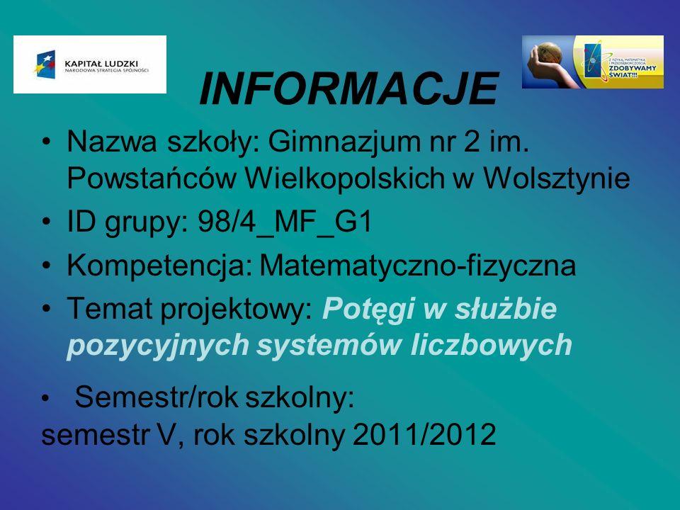 INFORMACJE Nazwa szkoły: Gimnazjum nr 2 im. Powstańców Wielkopolskich w Wolsztynie. ID grupy: 98/4_MF_G1.