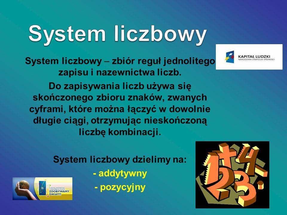 System liczbowy dzielimy na: