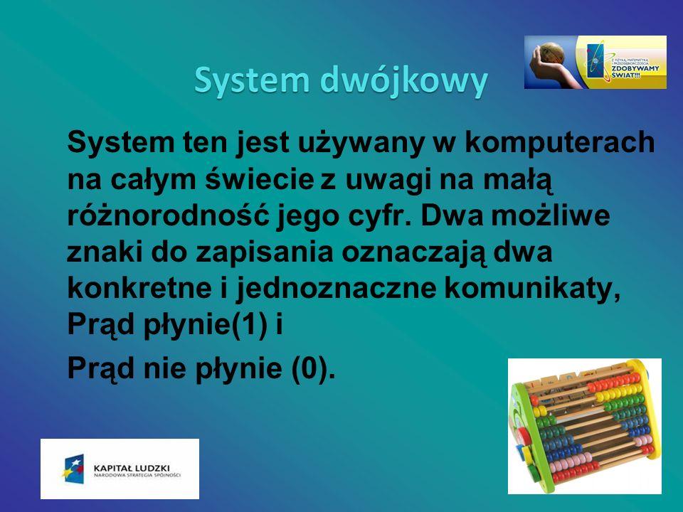 System ten jest używany w komputerach na całym świecie z uwagi na małą różnorodność jego cyfr. Dwa możliwe znaki do zapisania oznaczają dwa konkretne i jednoznaczne komunikaty, Prąd płynie(1) i