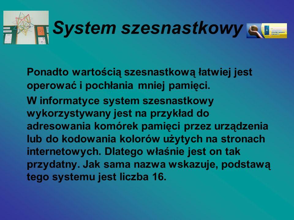 System szesnastkowy Ponadto wartością szesnastkową łatwiej jest operować i pochłania mniej pamięci.