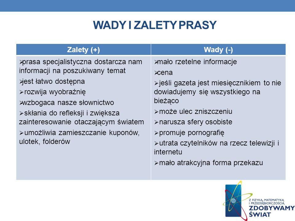 Wady i zalety prasy Zalety (+) Wady (-)