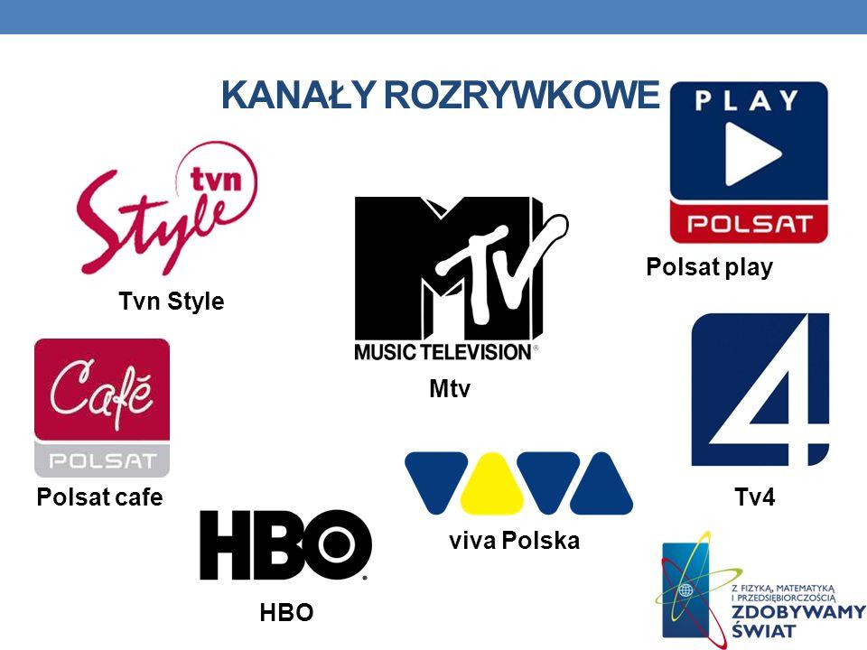 Kanały rozrywkowe Polsat play Tvn Style Mtv Polsat cafe Tv4