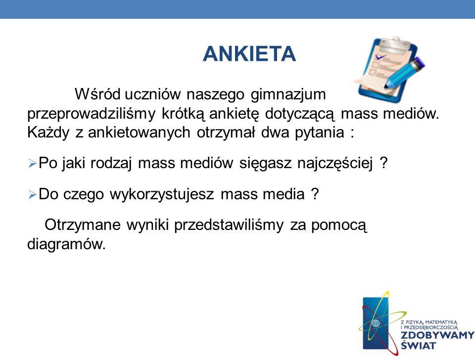 Ankieta Wśród uczniów naszego gimnazjum przeprowadziliśmy krótką ankietę dotyczącą mass mediów. Każdy z ankietowanych otrzymał dwa pytania :