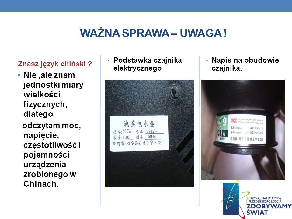 WAŻNA SPRAWA – UWAGA ! Znasz język chiński Podstawka czajnika elektrycznego. Napis na obudowie czajnika.