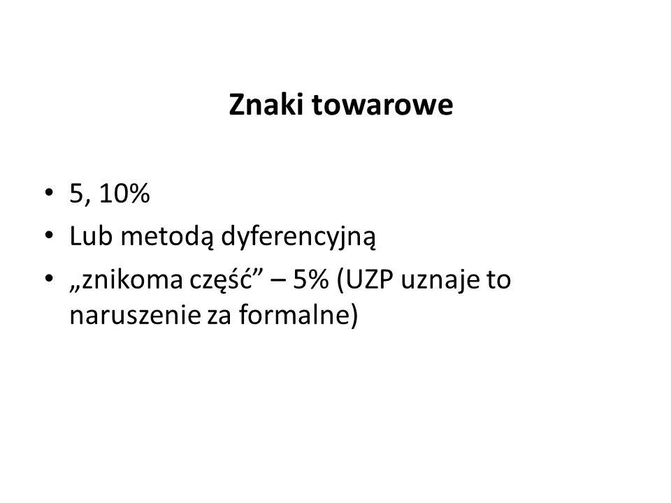 Znaki towarowe 5, 10% Lub metodą dyferencyjną