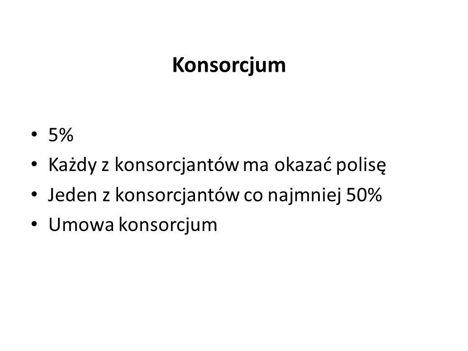 Konsorcjum 5% Każdy z konsorcjantów ma okazać polisę