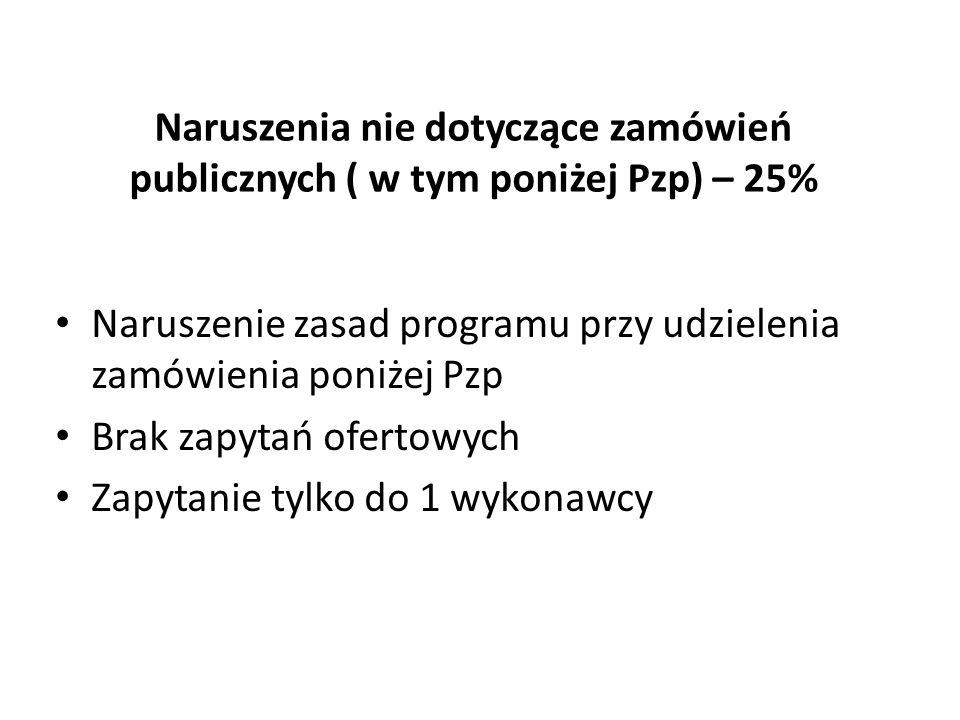 Naruszenia nie dotyczące zamówień publicznych ( w tym poniżej Pzp) – 25%