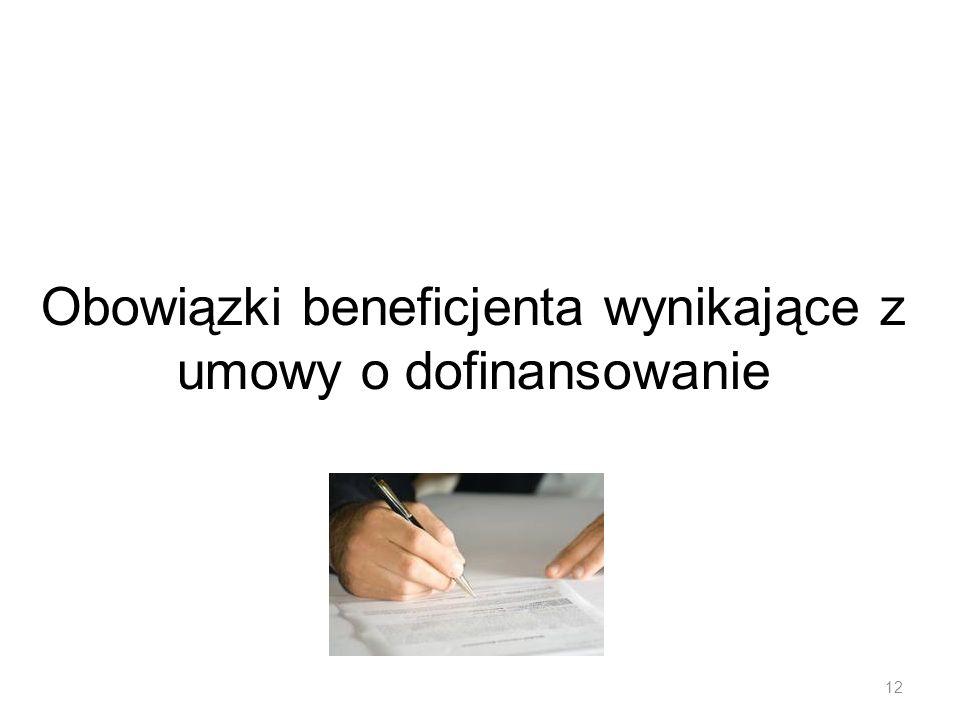 Obowiązki beneficjenta wynikające z umowy o dofinansowanie