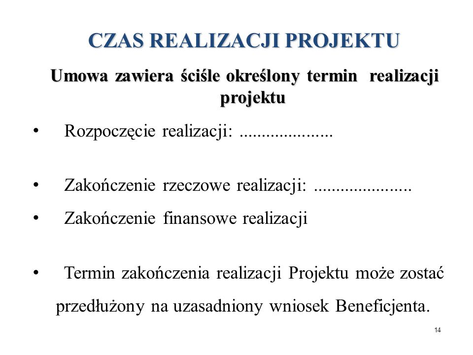 Umowa CZAS REALIZACJI PROJEKTU