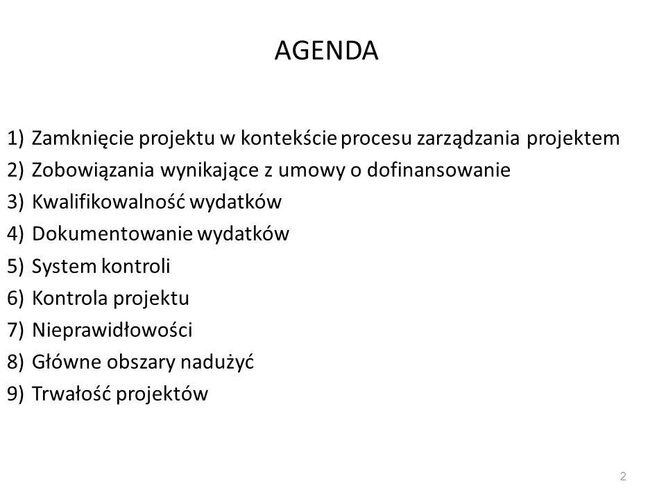 AGENDA Zamknięcie projektu w kontekście procesu zarządzania projektem