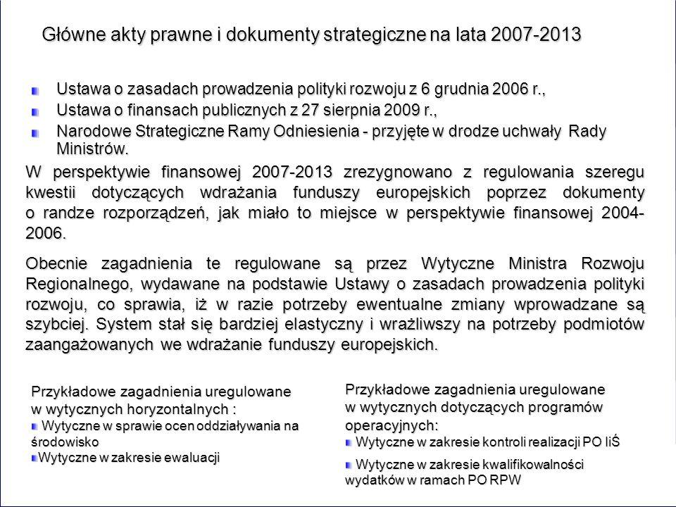 Główne akty prawne i dokumenty strategiczne na lata 2007-2013