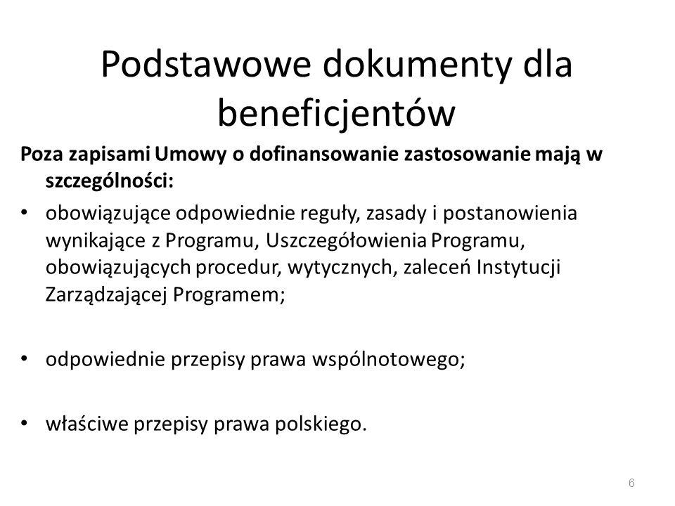 Podstawowe dokumenty dla beneficjentów