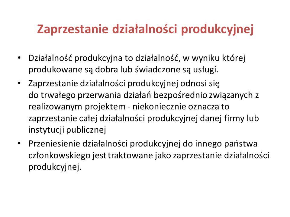 Zaprzestanie działalności produkcyjnej