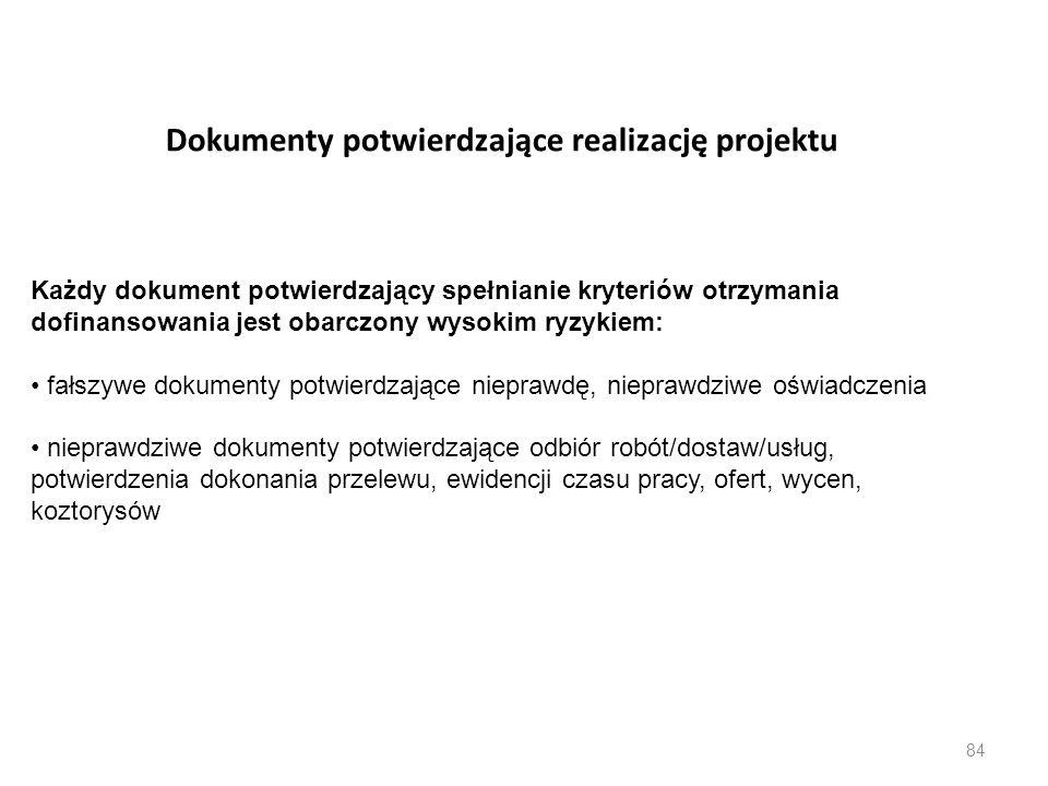 Dokumenty potwierdzające realizację projektu