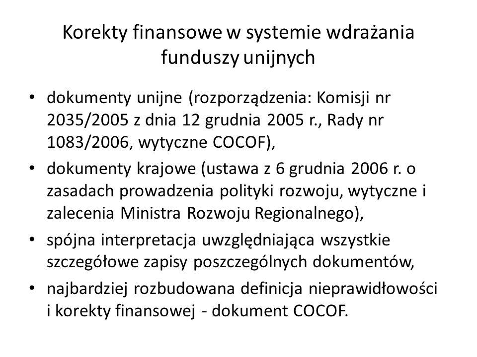 Korekty finansowe w systemie wdrażania funduszy unijnych