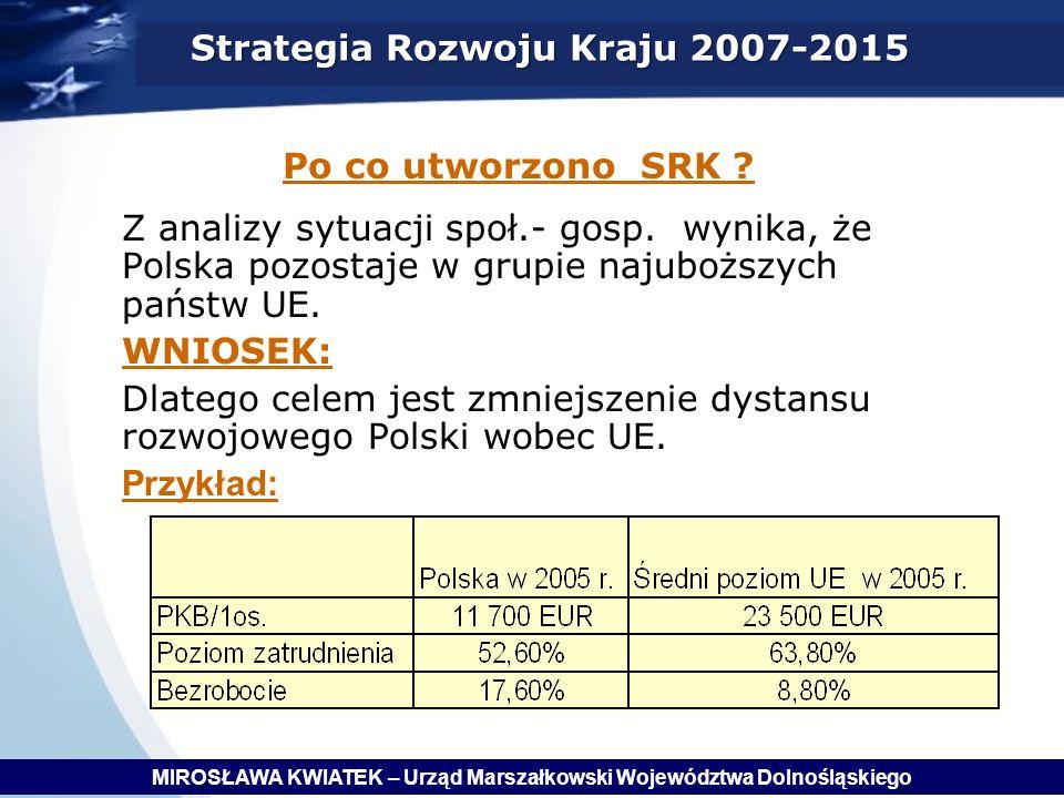 Strategia Rozwoju Kraju 2007-2015 Po co utworzono SRK