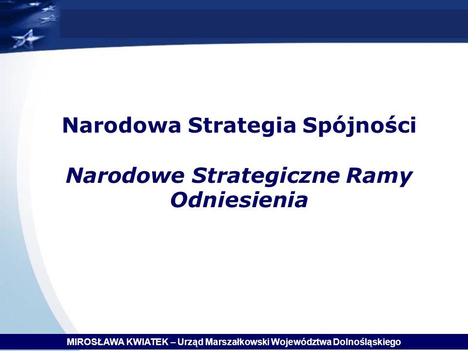 Narodowa Strategia Spójności Narodowe Strategiczne Ramy Odniesienia