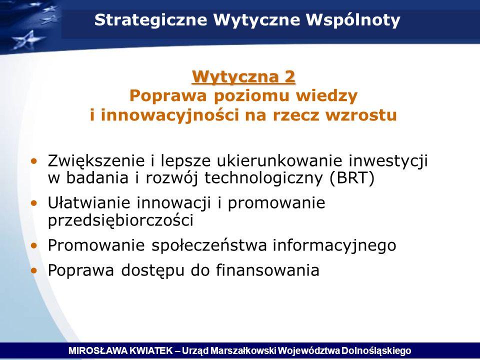 Wytyczna 2 Poprawa poziomu wiedzy i innowacyjności na rzecz wzrostu
