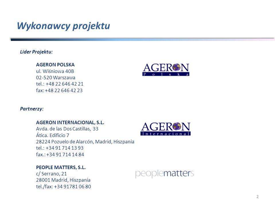 Wykonawcy projektu Lider Projektu: AGERON POLSKA ul. Wiśniowa 40B
