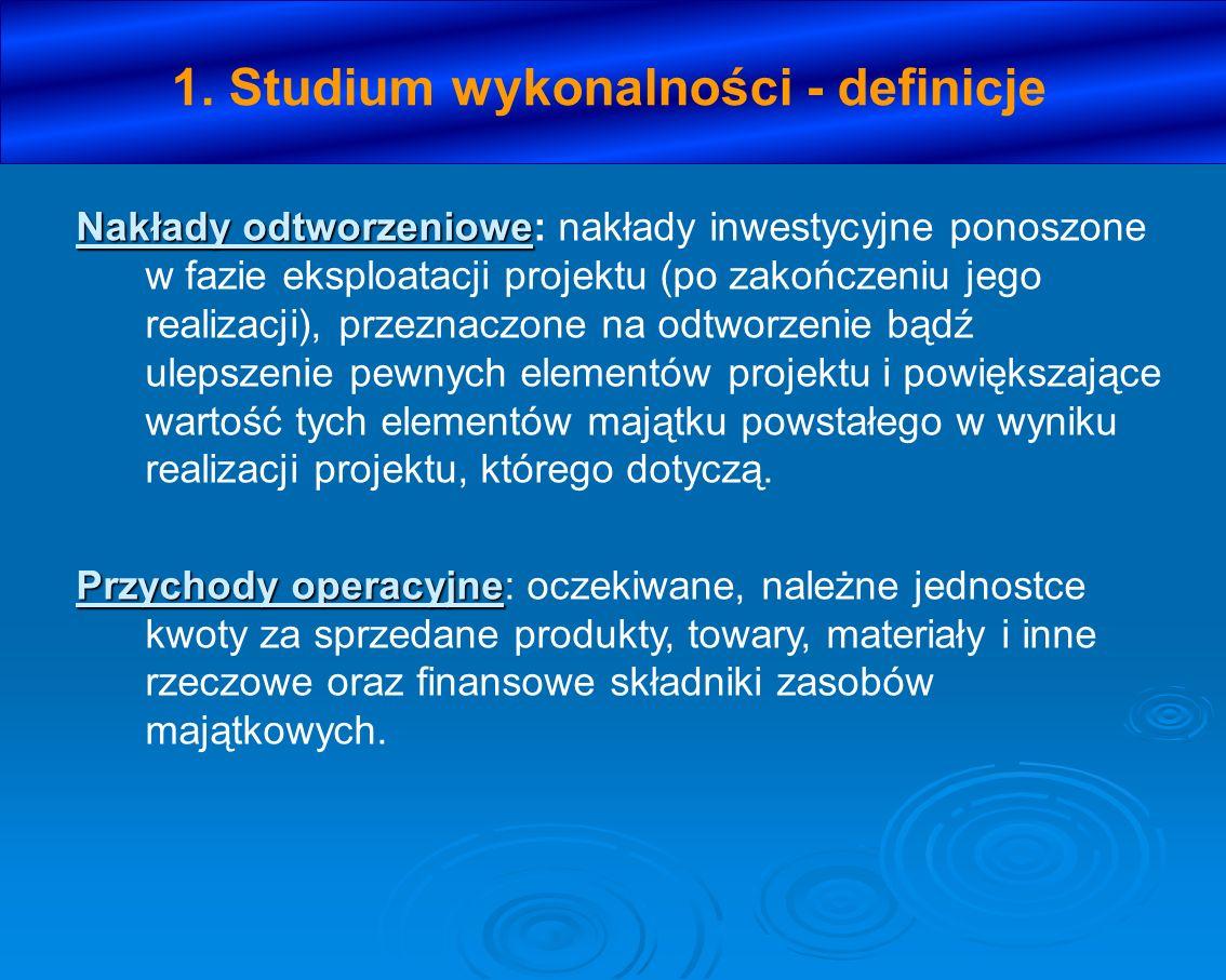 1. Studium wykonalności - definicje